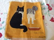 Completed Needlepoint Canvas/ Cat & Dog