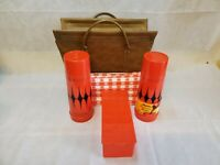 Vintage Alladin Vanguard Thermos Picnic Set Red Diamond 4 Piece