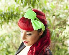 Fluro Green Hairband Retro 50's Rockabilly hair tie W/ Large Bow