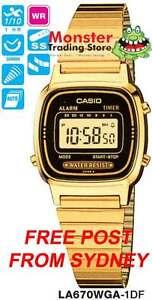 CASIO WATCH VINTAGE RETRO LADIES GOLD LA670WGA-1D LA670WGA LA670