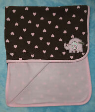 Carters Baby Girl Blanket Brown & Pink Hearts Elephant Cutie Fleece Reversible