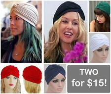 2 for TURBAN HAT HEAD WRAP BAND CAP BANDANA HIJAB INDIAN HAIR LOSS CHEMO