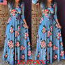 New Women V Neck Wrap Long Sleeve Floral Print Boho Long Maxi Dress Plus Size US