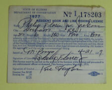 1977 Illinois Conservation Resident Hook & Line Fishing License Permit