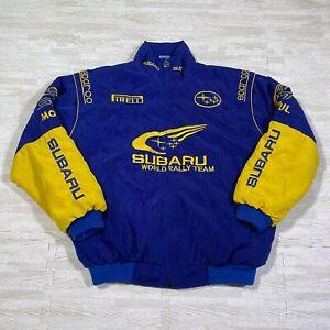 Subaru World Rally Team Pro Drive Jacket M Blue Yellow Replica Bomber Racing