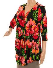 Nina Leonard * Taglia UK L * Stampato Top con dettaglio con Cordino Laterale Floreale Multi Colore