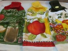 New listing Lot Of 3 New Hand Crocheted Hanging Kitchen Towels Apples, Basket Cider