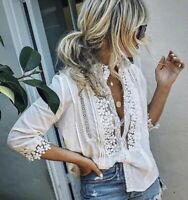 NWT Boutique Bohemian White Lace 3/4 Sleeve Mock Neck Top Blouse Womens S - L