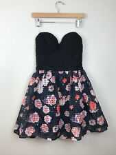 NWT INA Strapless Black Floral Print Dress Party Women's Size Medium