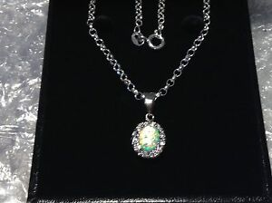 STERLING SILVER CZ/CULTURED OVAL SHAPED OPAL SET LADIES NECKLACE
