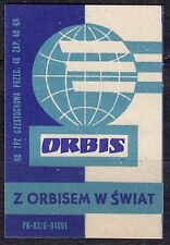 POLAND 1966 Matchbox Label - Cat.Z#655 III,  With ORBIS in the World.