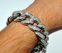 3.9 Ct Round Sim Diamond Men's Miami Cuban Link Bracelet 14k White Gold Plated