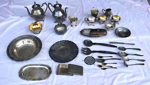 Lot of 30 Vintage Silver Plated Bowels, Coffee Pots, Trays, Flatware, and More