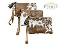 """Real Cowhide Leather Wristlet Clutch Purse Handbag Brown White Lined 8.5""""x5.5"""""""