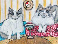 Ragdoll Martini ACEO PRINT Cat Mini Art Card 2.5 X 3.5 Signed KSAMS Collectible