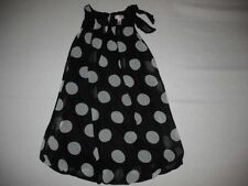 JUSTICE Black White Polka Dots Full Lined Dress SZ 10 EUC