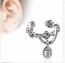Gorgeous Chain with Gem Dangle Cartilage Non-Piercing Ear Cuff