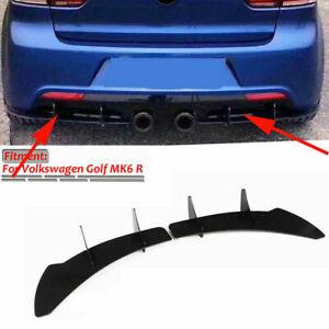 Rear Bumper Lip Diffuser Shark Splitter For Volkswagen VW Golf 6 VI MK6 R 12-14