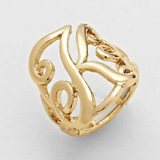 "Monogram Initial Ring 1"" Letter K Script Font Stretch One Size GOLD Jewelry"