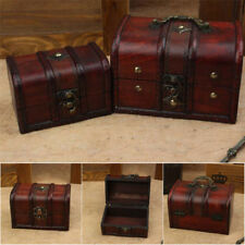 2Pc Wooden Jewelry Box Storage vintage small Treasure Chest Wood Crate Case Gift