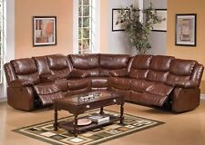 Motion Sofa Set Modern Brown Bonded Leather Home Theatre Sectional Console Couch