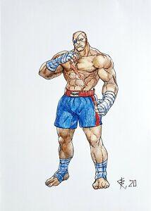 Fan art,original drawing color pencils,fantasyart,Street Fighter,Sagat