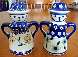 Set of 2 Handmade Manufaktura POLISH POTTERY BOLESLAWCU Salt or Pepper Shakers