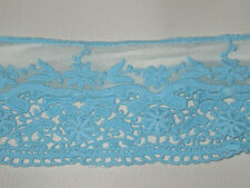 """3 yards in 3 1/4"""" width light turquoise colr crochet cotton&tulle trim w/floral"""