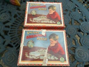 2 x VINTAGE WOODEN VICTORY GEOGRAPHICAL JIGSAW PUZZLES -  BRITISH ISLES + EUROPE