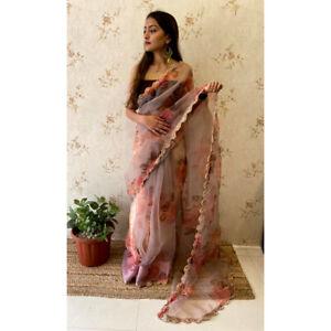 Soft Organza Saree Floral Print Pearl Emboridery Fancy Border Indian Women Sari