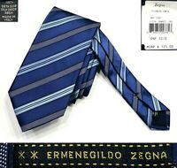 "ERMENEGILDO ZEGNA NWT $175 NAVY STRIPED 100%SILK TIE MADE IN ITALY W3.5"" L58.25"""