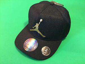 New JORDAN Jumpman  Basketball NBA Youth Boys Snapback Hat One Size Black w/Gold