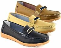 Ladies Womens Leather Low Wedge Slip On Moccasin Bar Comfort Shoes Size 5-10