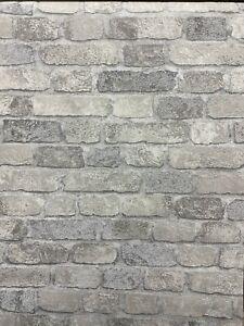3D Brick Effect Wallpaper Textured Grey Baker Street Anaglypta RD411 Modern Funk