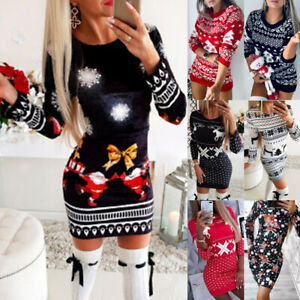 Women Christmas Print Knitted Sweater Dress Pullover Jumper Xmas Party Bodycon