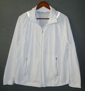 LULULEMON Full Zip NADA Jacket WHITE w Sheer Mesh Back Run Yoga Reflective Sz 12
