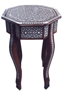 Handmade Egyptian Mother Of Pearl Inlaid Table Beech Wood Side Table Coffee 16