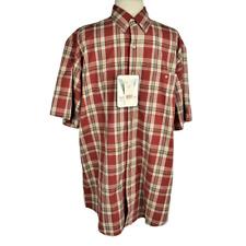 NEW Wrangler Mens L Western Shirt Relax Cotton Blend Button Front SS Plaid Rust