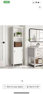 New Tower Linen Storage Cabinet Narrow 4 Shelves Bathroom White Door Shelf Wood