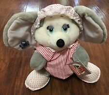 "NWT Vtg Applause 12"" Plush Sugarplum Mouse Holiday HOLLY Nightshirt & Bonnet Hat"