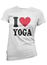 T-SHIRT donna I LOVE YOGA maglietta 100% cotone cool moda trendy idea regalo