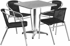 27.5'' Square Aluminum Indoor-Outdoor Table Set with 4 Black Rattan Chairs New