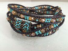 Czech GLASS Bead TURQUOISE BRONZE Wrap Bracelet Cuff Bangle Shamballa Guatemala