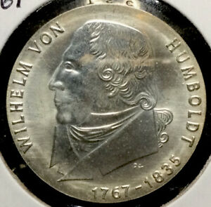 Unc. 1967 East Germany 20 Mark 80% Silver Coin - Wilhelm von Humboldt #1861