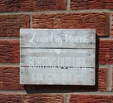 shabby vintage chic Laundry room sorting out life one load at a time sign plaque