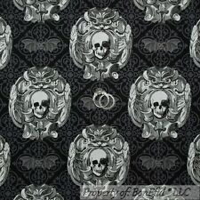 BonEful Fabric FQ Cotton Quilt Halloween Bat Skull Black Gray B&W Damask Flower