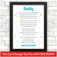 PERSONALISED Daddy Mummy Birthday Gifts from Baby Son Daughter Poem Print Gift
