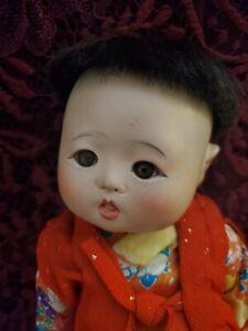 Antique/Vintage Japanese Gofun Ichimatsu Doll Set Brown Eyes Larger Size Nice