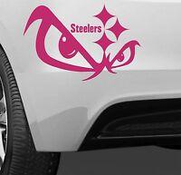 "Pittsburgh Steelers Pink 15"" x 10"" Vinyl Car Truck DECAL Window skull STICKER"
