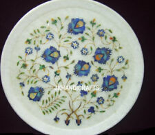 "13"" White Marble Serving Dish Plate Lapis Gemstone Semi Precious Kitchen Decor"